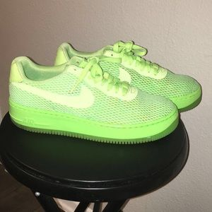 Neon lime fly knit Nike's